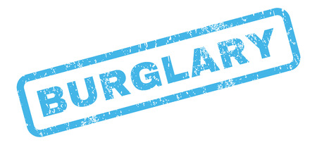 burglary: Burglary text rubber seal stamp watermark. Tag inside rectangular shape with grunge design and dirty texture. Slanted glyph blue ink sign on a white background. Stock Photo
