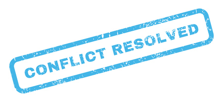 resolved: Conflict Resolved text rubber seal stamp watermark. Caption inside rectangular banner with grunge design and dirty texture. Slanted glyph blue ink emblem on a white background. Stock Photo