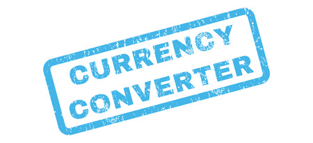 converter: Currency Converter text rubber seal stamp watermark. Caption inside rectangular shape with grunge design and unclean texture. Slanted glyph blue ink emblem on a white background.