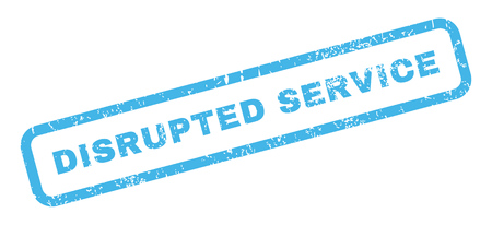 disrupted: Disrupted Service text rubber seal stamp watermark. Tag inside rectangular banner with grunge design and unclean texture. Slanted glyph blue ink sticker on a white background. Stock Photo