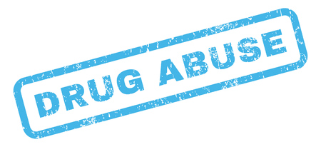 drug abuse: Drug Abuse text rubber seal stamp watermark. Tag inside rectangular shape with grunge design and unclean texture. Slanted glyph blue ink sign on a white background. Stock Photo