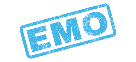 emo: Emo text rubber seal stamp watermark. Caption inside rectangular banner with grunge design and unclean texture. Slanted glyph blue ink sign on a white background.