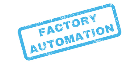 factory automation: Factory Automation text rubber seal stamp watermark. Caption inside rectangular banner with grunge design and scratched texture. Slanted glyph blue ink sign on a white background. Stock Photo