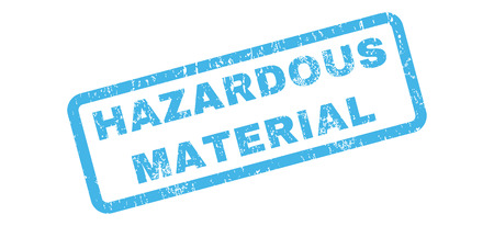 hazardous sign: Hazardous Material text rubber seal stamp watermark. Tag inside rectangular banner with grunge design and dirty texture. Slanted glyph blue ink sign on a white background.
