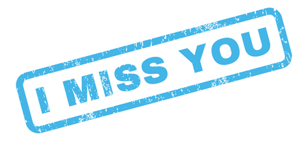 I Miss You text rubber seal stamp watermark. Tag inside rectangular banner with grunge design and scratched texture. Slanted glyph blue ink sticker on a white background. Stock Photo