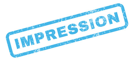 impression: Impression text rubber seal stamp watermark. Caption inside rectangular banner with grunge design and dust texture. Slanted glyph blue ink sticker on a white background. Stock Photo