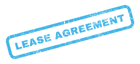 lease: Lease Agreement text rubber seal stamp watermark. Tag inside rectangular shape with grunge design and unclean texture. Slanted glyph blue ink sign on a white background.