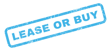 lease: Lease Or Buy text rubber seal stamp watermark. Tag inside rectangular banner with grunge design and dirty texture. Slanted glyph blue ink sticker on a white background.