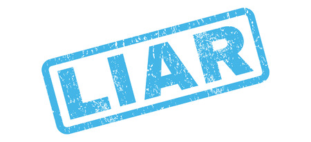 liar: Liar text rubber seal stamp watermark. Caption inside rectangular shape with grunge design and unclean texture. Slanted glyph blue ink emblem on a white background. Stock Photo