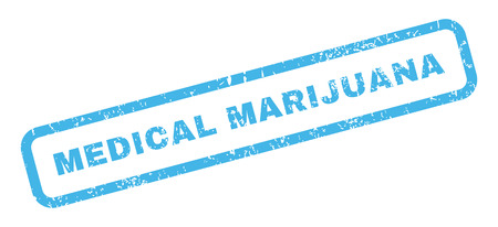 medical marijuana: Medical Marijuana text rubber seal stamp watermark. Caption inside rectangular shape with grunge design and dust texture. Slanted glyph blue ink sign on a white background. Stock Photo
