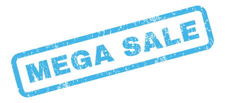mega sale: Mega Sale text rubber seal stamp watermark. Caption inside rectangular banner with grunge design and unclean texture. Slanted glyph blue ink sign on a white background.