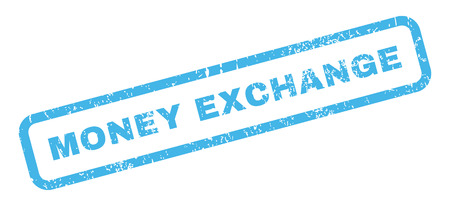 money exchange: Money Exchange text rubber seal stamp watermark. Caption inside rectangular banner with grunge design and dust texture. Slanted glyph blue ink sign on a white background. Stock Photo