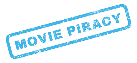 piracy: Movie Piracy text rubber seal stamp watermark. Caption inside rectangular shape with grunge design and unclean texture. Slanted glyph blue ink emblem on a white background.