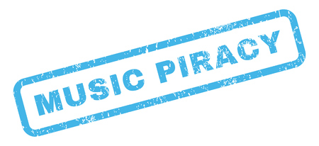 piracy: Music Piracy text rubber seal stamp watermark. Caption inside rectangular banner with grunge design and unclean texture. Slanted glyph blue ink emblem on a white background.