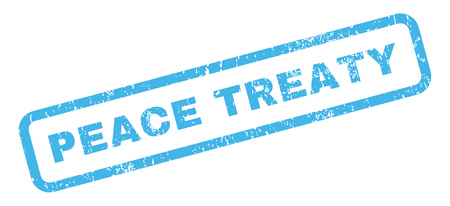 treaty: Peace Treaty text rubber seal stamp watermark. Caption inside rectangular shape with grunge design and scratched texture. Slanted glyph blue ink sticker on a white background.