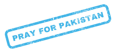 inquire: Pray For Pakistan text rubber seal stamp watermark. Caption inside rectangular shape with grunge design and unclean texture. Slanted glyph blue ink sticker on a white background.