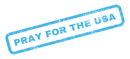 implore: Pray For The USA text rubber seal stamp watermark. Tag inside rectangular banner with grunge design and scratched texture. Slanted glyph blue ink sign on a white background.