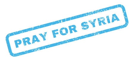 require: Pray For Syria text rubber seal stamp watermark. Caption inside rectangular shape with grunge design and scratched texture. Slanted glyph blue ink emblem on a white background.