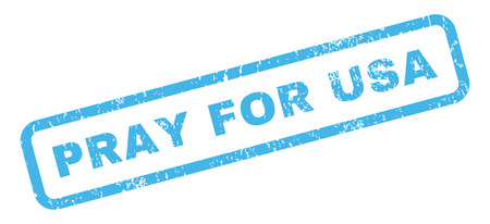 require: Pray For USA text rubber seal stamp watermark. Caption inside rectangular banner with grunge design and unclean texture. Slanted glyph blue ink sticker on a white background.
