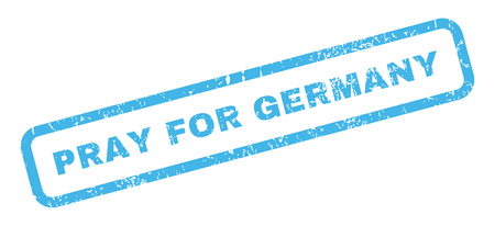 inquire: Pray For Germany text rubber seal stamp watermark. Tag inside rectangular banner with grunge design and dirty texture. Slanted glyph blue ink sticker on a white background. Stock Photo