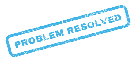 resolved: Problem Resolved text rubber seal stamp watermark. Caption inside rectangular shape with grunge design and scratched texture. Slanted glyph blue ink sticker on a white background.