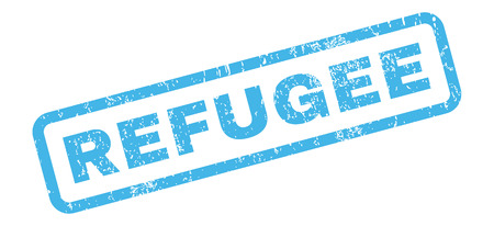 refuge: Refugee text rubber seal stamp watermark. Tag inside rectangular shape with grunge design and dirty texture. Slanted glyph blue ink emblem on a white background. Stock Photo