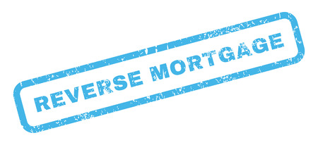 reverse: Reverse Mortgage text rubber seal stamp watermark. Tag inside rectangular shape with grunge design and scratched texture. Slanted glyph blue ink sign on a white background.