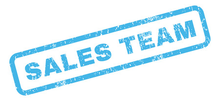 sales team: Sales Team text rubber seal stamp watermark. Caption inside rectangular shape with grunge design and unclean texture. Slanted glyph blue ink emblem on a white background.