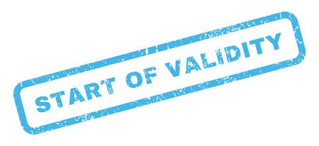 validez: El inicio del texto Validez marca de agua sello de junta de goma. En etiqueta forma rectangular con diseño de grunge y textura impuro. glifo inclinada signo tinta azul sobre un fondo blanco.