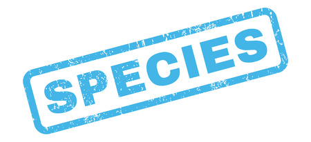 species: Species text rubber seal stamp watermark. Caption inside rectangular shape with grunge design and dirty texture. Slanted glyph blue ink emblem on a white background.