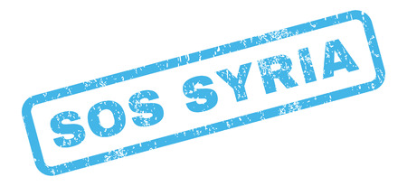 disaster supplies: Sos Syria text rubber seal stamp watermark. Caption inside rectangular shape with grunge design and dust texture. Slanted glyph blue ink sticker on a white background. Stock Photo