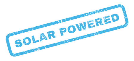 powered: Solar Powered text rubber seal stamp watermark. Caption inside rectangular shape with grunge design and scratched texture. Slanted glyph blue ink sign on a white background.