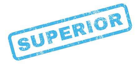 superior: Superior text rubber seal stamp watermark. Caption inside rectangular shape with grunge design and unclean texture. Slanted glyph blue ink sign on a white background. Stock Photo
