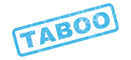 taboo: Taboo text rubber seal stamp watermark. Tag inside rectangular shape with grunge design and unclean texture. Slanted glyph blue ink sticker on a white background.