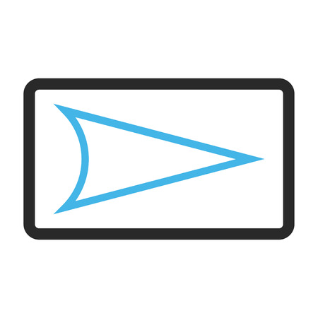 arrowhead: Arrowhead Right glyph icon. Image style is a flat bicolor icon symbol in a rounded rectangle, blue and gray colors, white background.