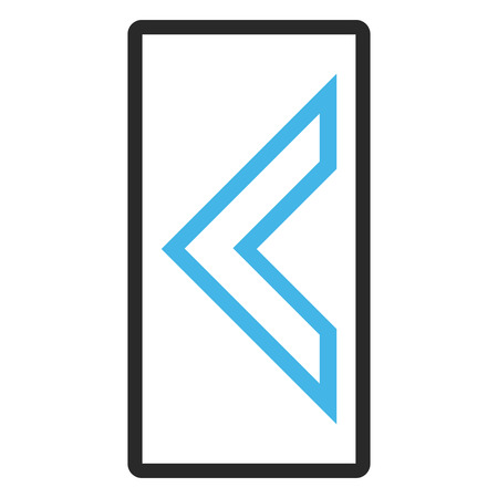 arrowhead: Arrowhead Left glyph icon. Image style is a flat bicolor icon symbol in a rounded rectangle, blue and gray colors, white background. Stock Photo