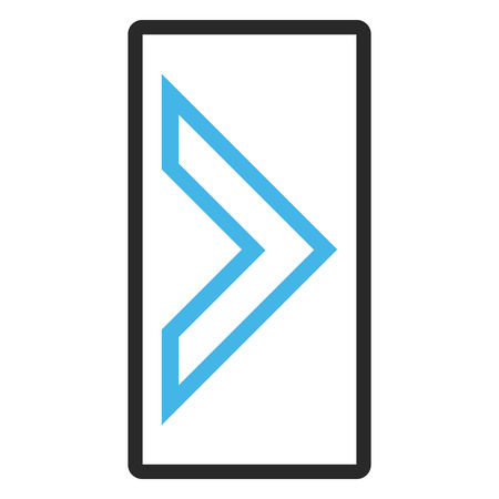 redirect: Arrowhead Right glyph icon. Image style is a flat bicolor icon symbol inside a rounded rectangle, blue and gray colors, white background.