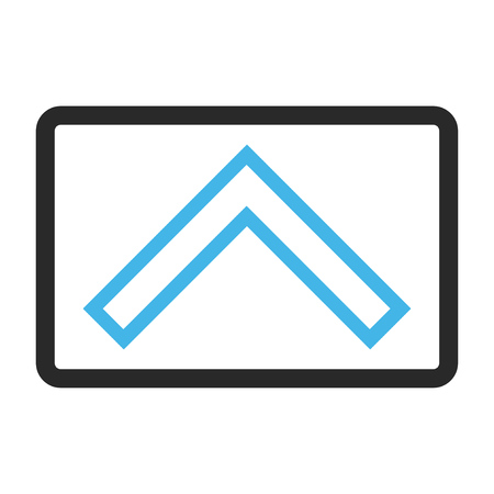 arrowhead: Arrowhead Up glyph icon. Image style is a flat bicolor icon symbol in a rounded rectangular frame, blue and gray colors, white background.