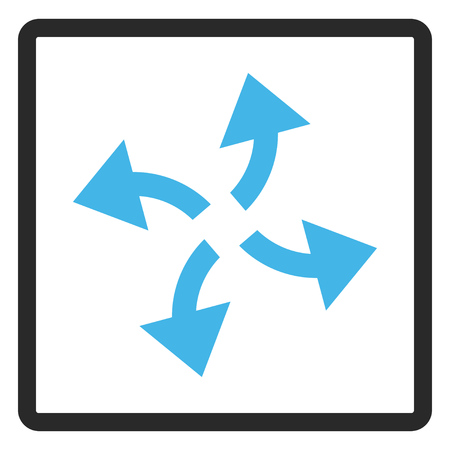 rounded rectangle: Centrifugal Arrows glyph icon. Image style is a flat bicolor icon symbol in a rounded rectangle, blue and gray colors, white background. Stock Photo