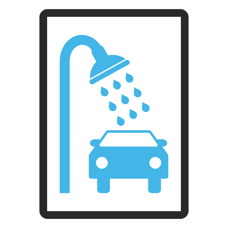 rounded rectangle: Car Shower glyph icon. Image style is a flat bicolor icon symbol inside a rounded rectangle, blue and gray colors, white background. Stock Photo