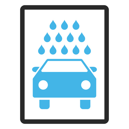 sterilize: Car Wash glyph icon. Image style is a flat bicolor icon symbol inside a rounded rectangle, blue and gray colors, white background.