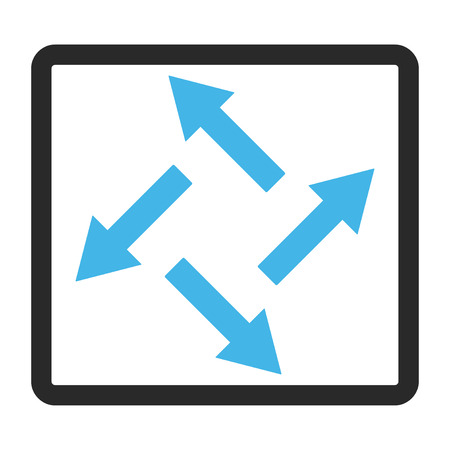Centrifugal Arrows glyph icon. Image style is a flat bicolor icon symbol inside a rounded rectangle, blue and gray colors, white background.