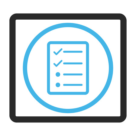 todo: Checklist Page glyph icon. Image style is a flat bicolor icon symbol inside a rounded rectangular frame, blue and gray colors, white background.