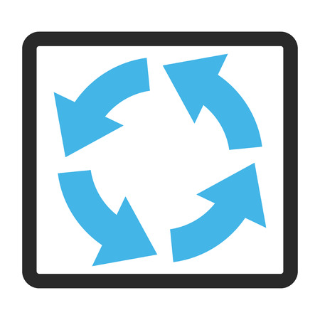 Circulation glyph icon. Image style is a flat bicolor icon symbol in a rounded rectangle, blue and gray colors, white background. Stock Photo