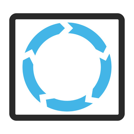 rounded rectangle: Circulation glyph icon. Image style is a flat bicolor icon symbol inside a rounded rectangle, blue and gray colors, white background. Stock Photo