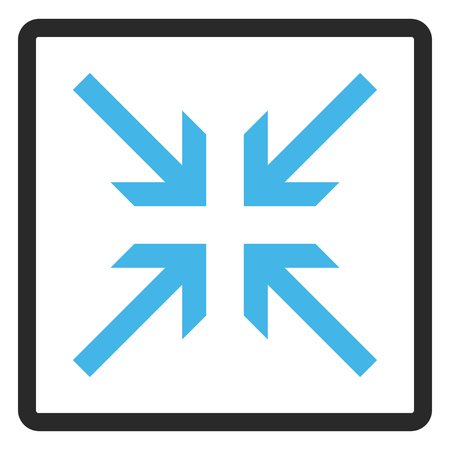 collide: Collide Arrows glyph icon. Image style is a flat bicolor icon symbol in a rounded rectangle, blue and gray colors, white background.