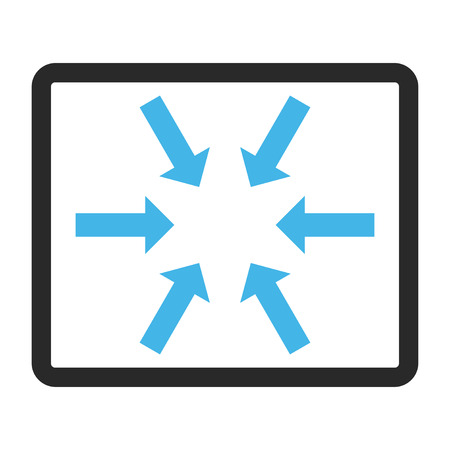 rounded rectangle: Compact Arrows glyph icon. Image style is a flat bicolor icon symbol inside a rounded rectangle, blue and gray colors, white background. Stock Photo