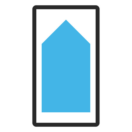 rounded rectangle: Direction Up glyph icon. Image style is a flat bicolor icon symbol in a rounded rectangle, blue and gray colors, white background.