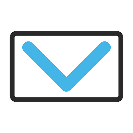 rounded rectangle: Direction Down glyph icon. Image style is a flat bicolor icon symbol inside a rounded rectangle, blue and gray colors, white background.