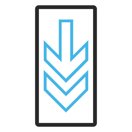 redirect: Direction Down glyph icon. Image style is a flat bicolor icon symbol inside a rounded rectangular frame, blue and gray colors, white background. Stock Photo
